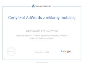 certyfikat adwords z reklamy mobilnej grzegorz faliszewski