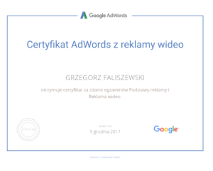 certyfikat adwords z reklamy video grzegorz faliszewski
