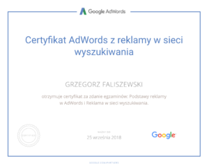 certyfikat adwords z reklamy w sieci wyszukiwania grzegorz faliszewski