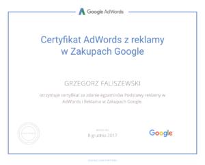 certyfikat adwords z reklamy w zakupach google grzegorz faliszewski