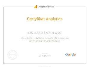 certyfikat google analytics grzegorz faliszewski